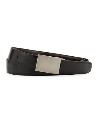 Multi-Buckle Reversible Leather Belt, Black/Brown
