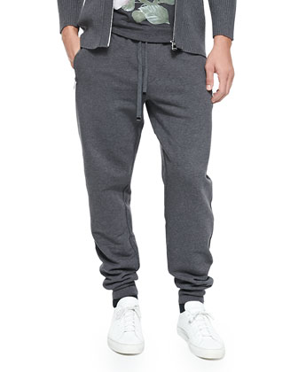 Zip-Pocket Sweatpants, Melange Gray
