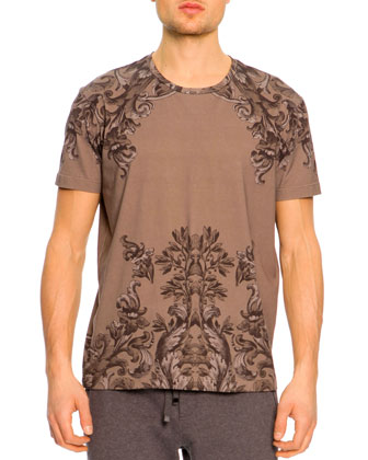 Short-Sleeve Baroque-Print Tee, Brown
