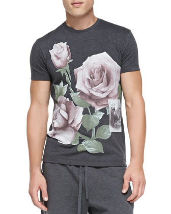 Ribbed-Knit Zip-Front Sweater, Short-Sleeve Tee with Printed Roses & ...