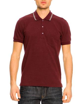 Short-Sleeve Striped Collar Polo Shirt, Burgundy