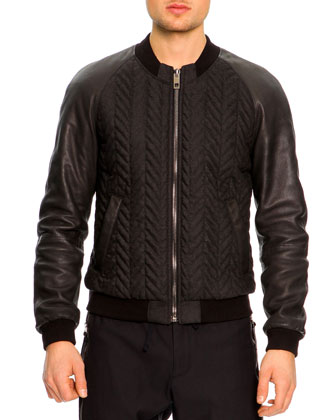 Bomber Jacket with Leather Sleeves, Dark Gray