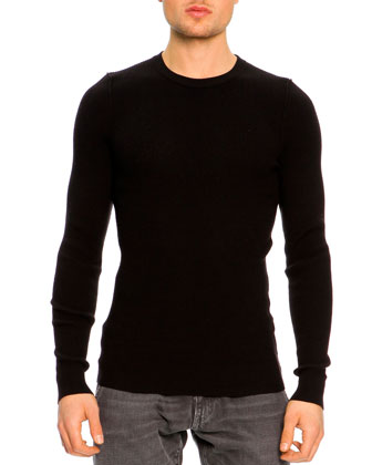 Ribbed Crewneck Sweater, Black