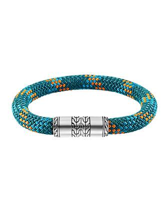 Men's Classic Chain Multicolor Cord Bracelet, Teal