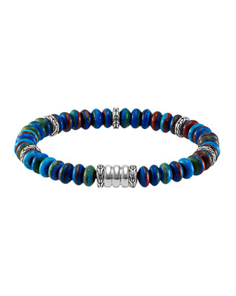 Men's Batu Bedeg Rainbow Beaded Bracelet, Multi