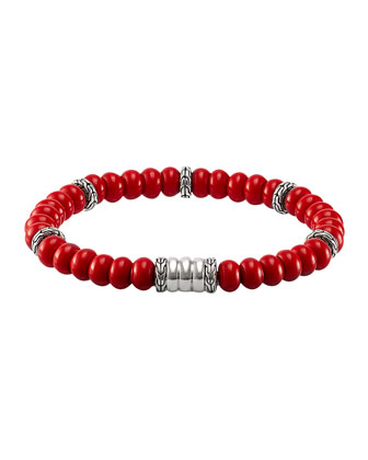 Men's Bedeg Beaded Bracelet, Coral