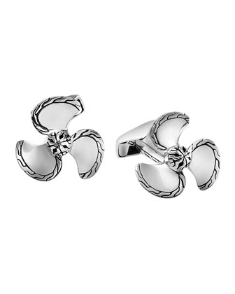 Classic Chain Propeller Cuff Links, Silver/Black