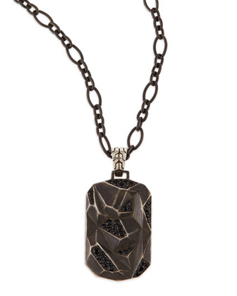 Men's Classic Chain Lava Dog Tag Chain Necklace, Silver
