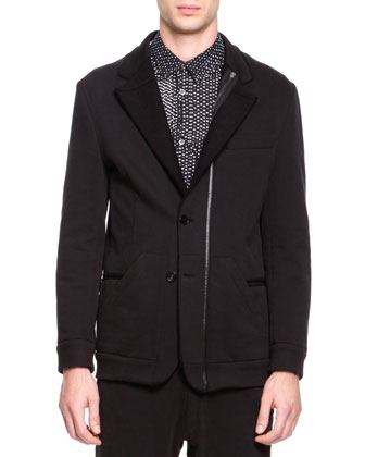 Soft Jersey Notched Jacket, Black