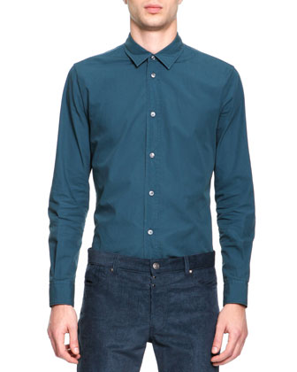 Poplin Button-Down Shirt, Teal