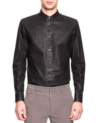 Coated Poplin Button-Down Shirt, Dark Gray