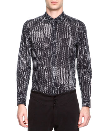Printed Button-Down Shirt, Black/White