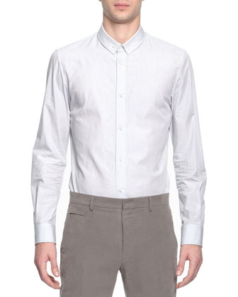 Fine-Striped Button-Down Shirt, White/Gray