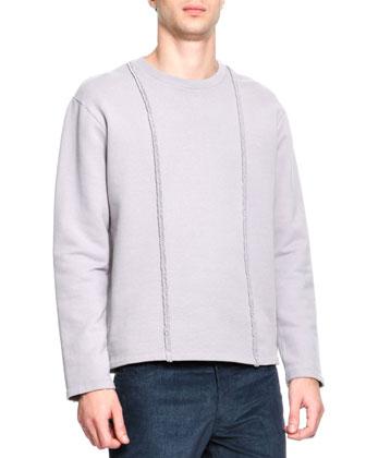 Crewneck Braid Detail Sweatshirt, Gray