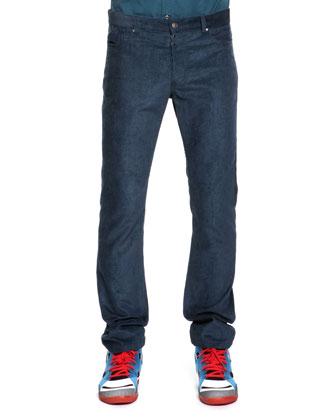 Fine-Wale Corduroy Pants, Blue