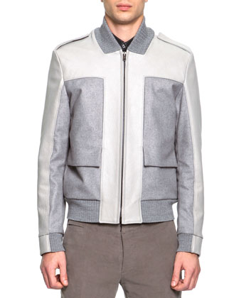 Mixed Media Bomber Jacket, Coated Poplin Button-Down Shirt & Slim Fit ...