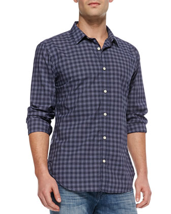 Mini-Plaid Button-Down Shirt, Navy