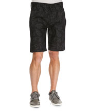 Laser-Floral Chino Shorts, Black