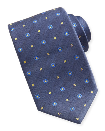 Woven Stitch-Pattern Tie, Denim