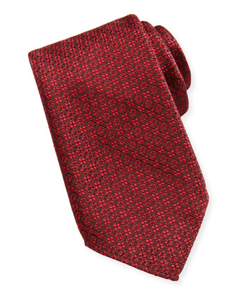 Woven Stitch-Pattern Tie, Red