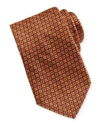 Woven Stitch-Pattern Tie, Orange