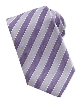 Woven Striped-Pattern Silk Tie, Purple