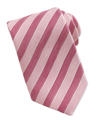 Woven Striped-Pattern Silk Tie, Red
