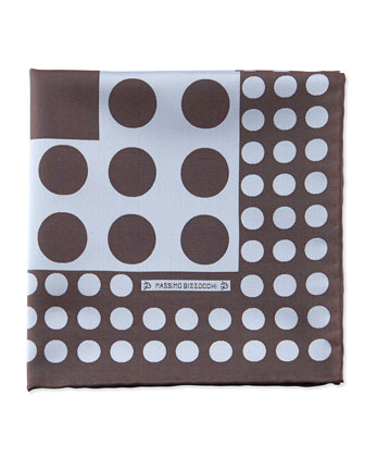 Dots Pocket Square, Brown/Cream