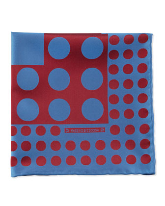 Dots Pocket Square, Blue/Red