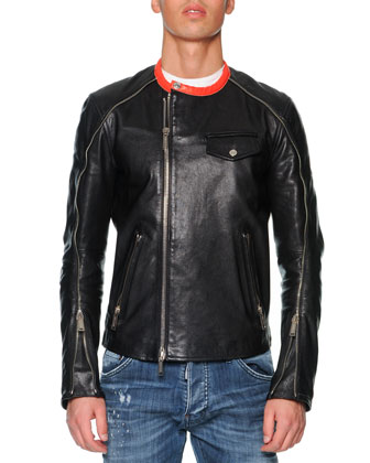 Leather Moto Jacket with Orange Collar, Black