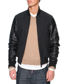 Wool Bomber Jacket with Leather Sleeves