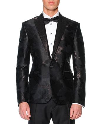 Beverly Hills Camo-Jacquard Tuxedo Jacket