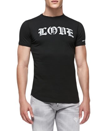 Love/Hate Jersey Tee, Black