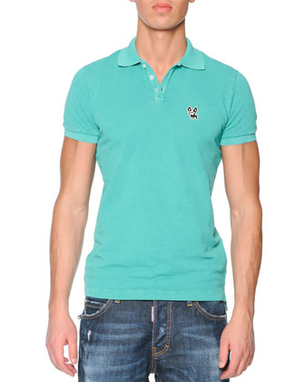Green Bulldog Short-Sleeve Polo & Zip-Pocket Distressed Denim Jeans