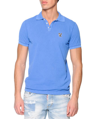 Bulldog Short-Sleeve Polo, Blue