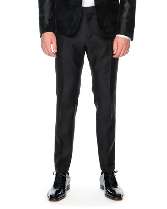 Satin and Wool Dress Pants, Black