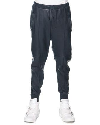 Leather Drawstring Pants, Navy