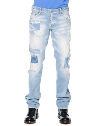 Destroyed Slim-Cut Denim Jeans, Light Blue