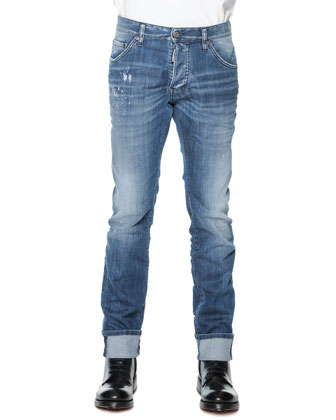 Distressed Denim Jeans, Medium Blue Wash