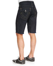 Ricky Dark-Wash Cutoff Denim Shorts, Navy