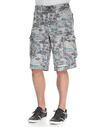 Isaac Tropical-Print Cargo Shorts, Multi