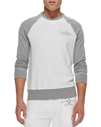 Colorblock Raglan Sweatshirt, White