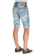 Geno Cutoff Light-Wash Jean Shorts, Antelope