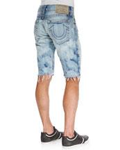 Geno Cutoff Light-Wash Jean Shorts, Antelope