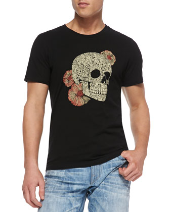 Short-Sleeve Jersey-Knit Skull Shirt, Black