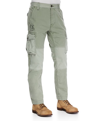 Twill Cargo Pants, Olive