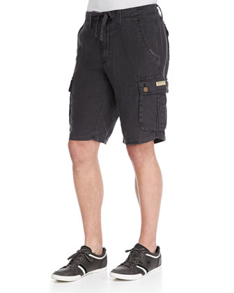 Recon Linen Cargo Shorts, Black