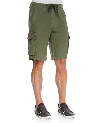 Recon Linen Cargo Shorts, Olive