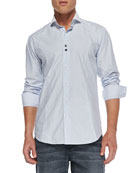 Alex Dot-Jacquard Sport Shirt, Light Blue