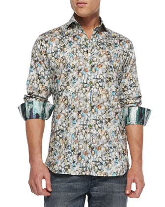 G-David Multi-Jewel-Print Sport Shirt